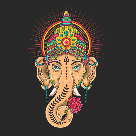 ganesha head mascot colorful illustration vector