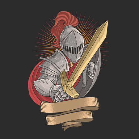 knight with a golden sword Illustration