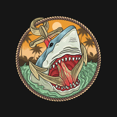wild sharks and anchors in the ocean Vecteurs