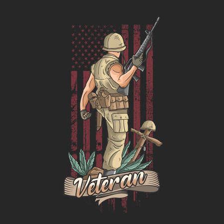 the american soldier with weapons welcomes victory Ilustración de vector