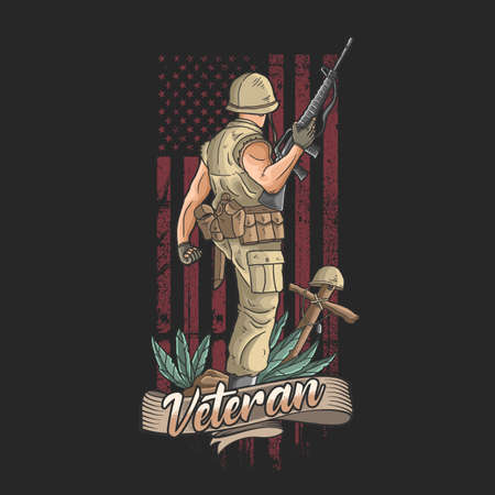 the american soldier with weapons welcomes victory Ilustração