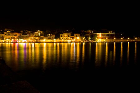 light in the sea of chania by night
