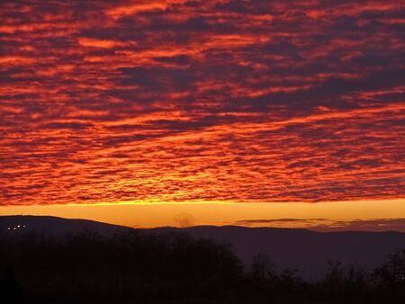 red sky over the Novi Sad