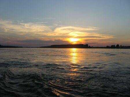 Sunset over the river Danube