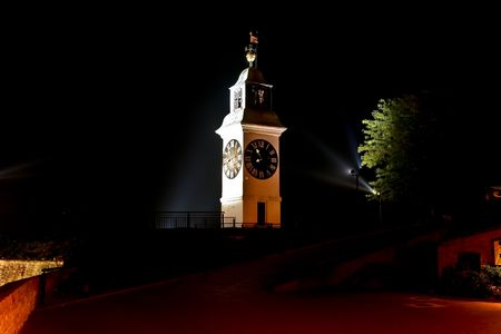 Old clock tower on the Petrovaradin fortress 6 Stock Photo