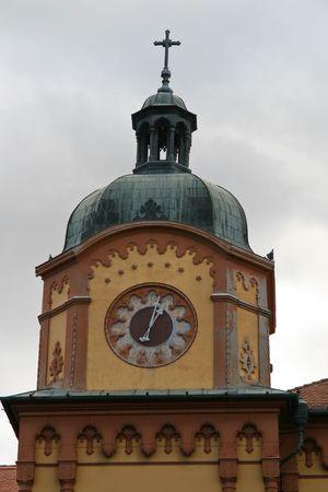 Old clock tower on gymnasium building in Sr. Karlovci near Novi Sad in Vojvodina-Serbia. Stock Photo