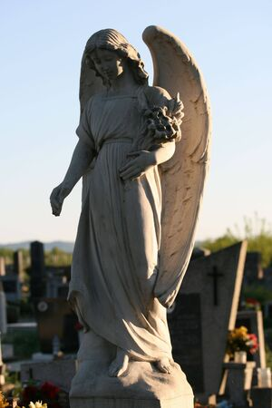 This is a shot of statue of angel on the old cemetery Stock Photo