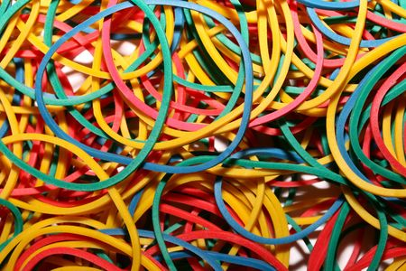 elastic: this is a closeup shot of bundle of elastic rubber bands. Stock Photo