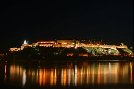 This is a Petrovaradin fortress on river Danube, by night, view from Novi Sad, this is a place of Exit festival in Serbia