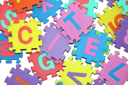 bunch of letters-puzzle, isolated on white background.