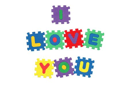 i nobody: Message I LOVE YOU from letter puzzle, isolated on white. Stock Photo