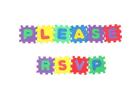 rsvp: Message PLEASE RSVP from letter puzzle, isolated on white. Stock Photo