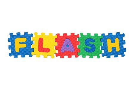 Word FLASH, aus Buchstaben-Puzzle, auf wei�en Hintergrund isoliert