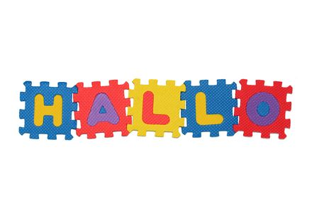 hallo: Word HALLO,  from letter puzzle, isolated on white background Stock Photo