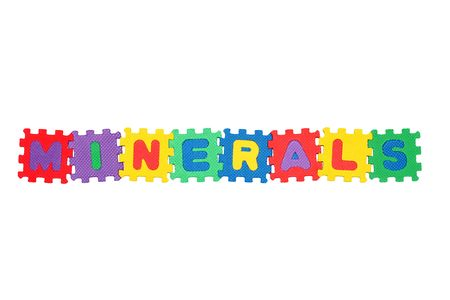 Word MINERALS,  from letter puzzle, isolated on white background