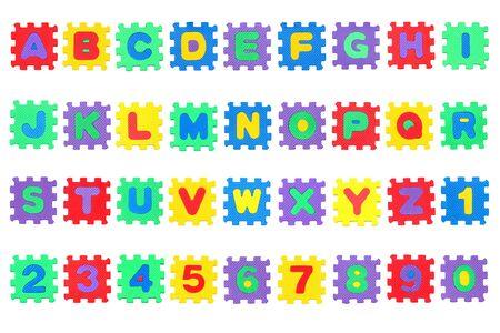 Alphabet, Buchstaben Puzzle, isoliert auf wei�em Hintergrund Lizenzfreie Bilder