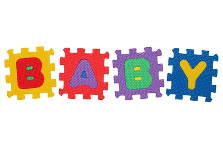 Word Baby, from letter puzzle, isolated on white background. Stock Photo