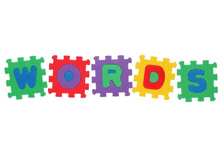 Word Words, from letter puzzle, isolated on white background. Stock Photo
