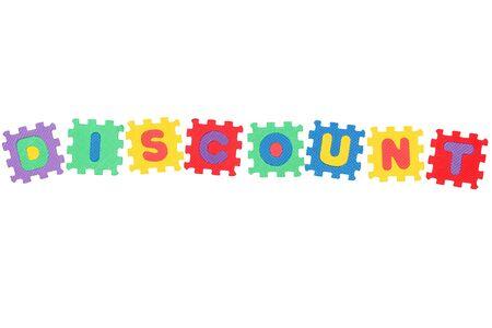 Word Rabatt, von Brief Puzzle, isolated on white Background. Lizenzfreie Bilder