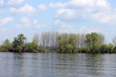 This is a river Danube in Serbia, by sunny day.
