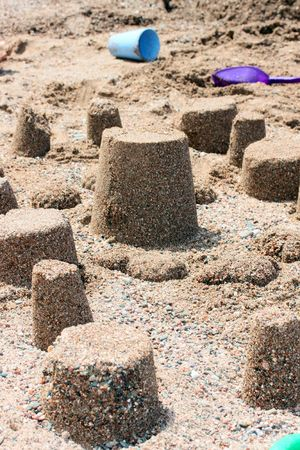 this is a some sand towers, on the sea beach. Stock Photo