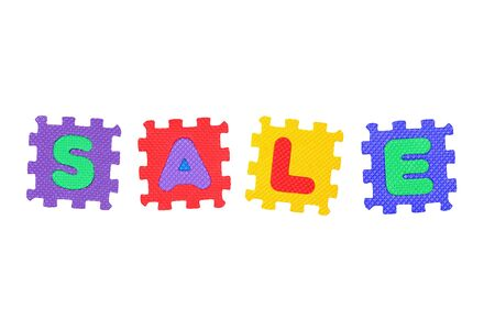 Word Sale from letter puzzle, isolated on white. Stock Photo - 8761574