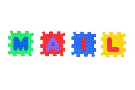 Word Mail von Brief Puzzle, isolated on white Background.