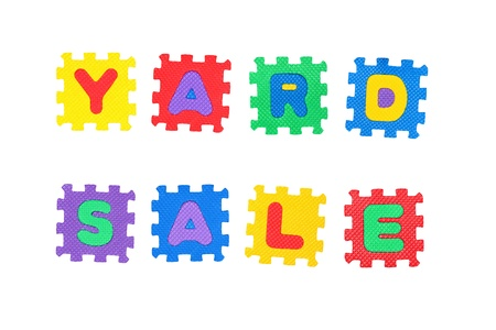 Message Yard Sale, from letters puzzle, isolated on white background. Stock Photo - 8761591