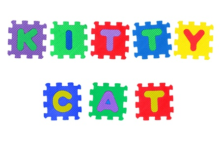 Kitty Cat, from letter puzzle, isolated on white background Stock Photo - 8761635