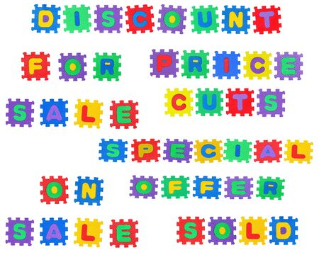 Message, discount, on sale, for sale, price cuts, special offer, from letter puzzle, isolated on white background. Stock Photo - 8761637