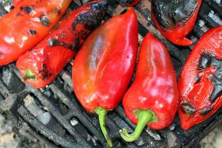 bell peper: Red bell peper on the grill, roasted.