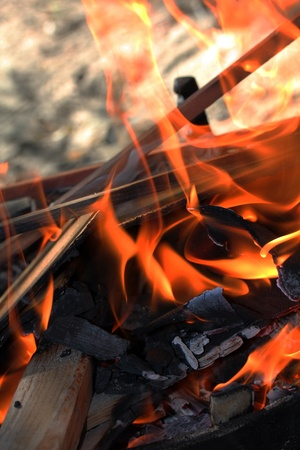 ember: Fire under the barbecue, for some fire background.