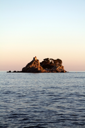 islets: These are two islets in the Adriatic sea in Montenegro, named Sveta Nedjelja Katic. Stock Photo