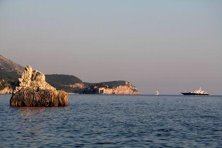 sveti: The view on the Sveti Stefan Island City near Budva Stock Photo