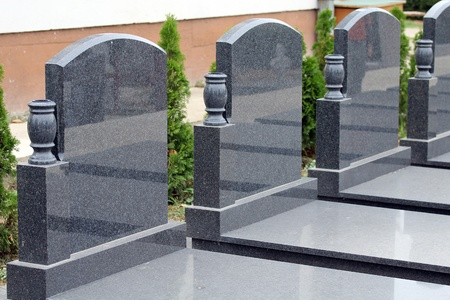 Couple of empty marble tombstone.