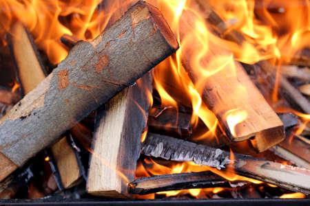 under fire: Primer tirado de fuego en la barbacoa.