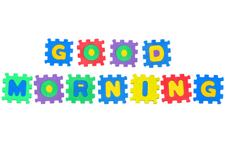 Message, Good Morning, from letters puzzle, isolated on white background  Stock Photo - 23201766