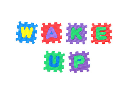 uyanmak: Message, Wake Up, from letters puzzle, isolated on white background