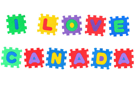 i love canada: Message I Love Canada, from letters puzzle, isolated on white background  Stock Photo