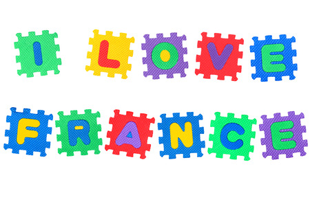 Message I Love France, from letters puzzle, isolated on white background  photo