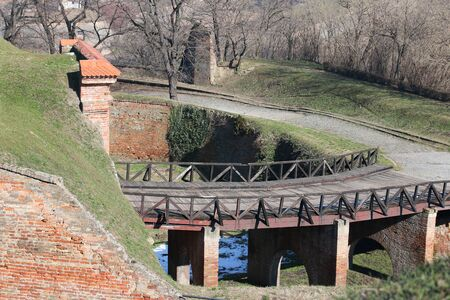 Old wooden bridge on the Petrovaradin fortress in Serbia