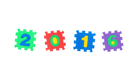 Year 2016 from letter puzzle, isolated on white background. Stock Photo