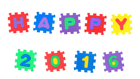 Happy 2016 from letter puzzle, isolated on white background.