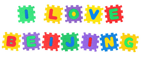 Message I Love Beijing, from letters puzzle, isolated on white background. Stock Photo