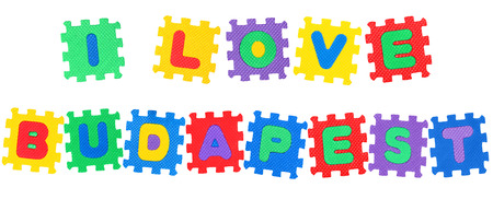 Message I Love Budapest, from letters puzzle, isolated on white background. Stock Photo