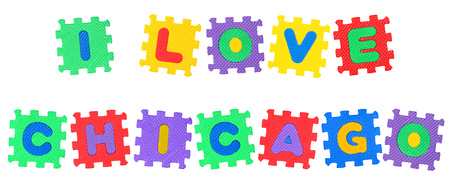 Message I Love Chicago, from letters puzzle, isolated on white background. Stock Photo
