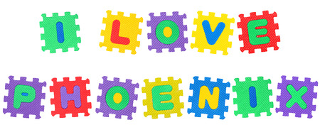 Message I Love Phoenix, from letters puzzle, isolated on white background.