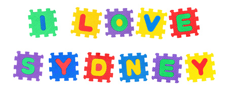 Message I Love Sydney, from letters puzzle, isolated on white background.