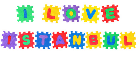 Message I Love Istanbul , from letters puzzle, isolated on white background.