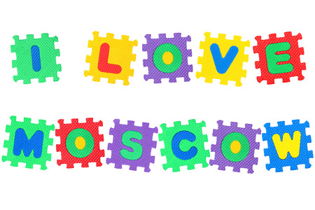 Message I Love Moscow, from letters puzzle, isolated on white background.